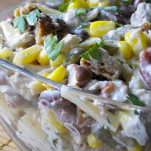 Кулинарный рецепт: Салат с курицей, фасолью и сыром на ГОТОВИМ СМАЧНО