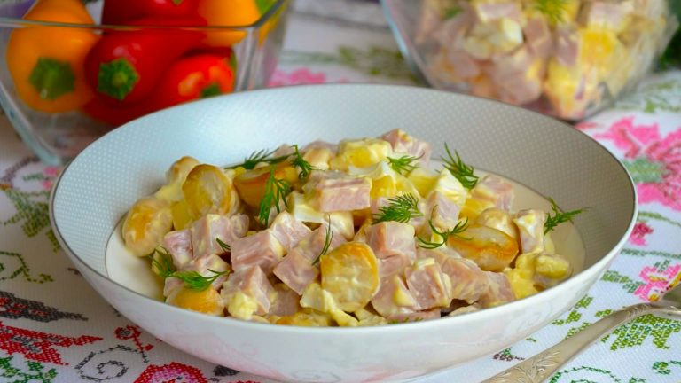 Салат с ветчиной, грибами и сыром