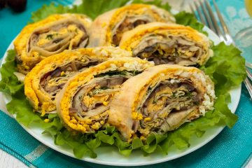 Кулинарный рецепт: Рулет из лаваша с грибами и сыром на ГОТОВИМ СМАЧНО