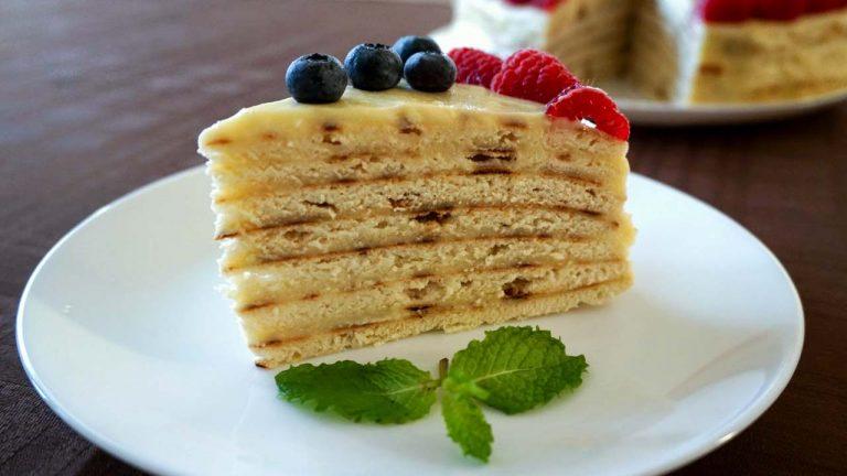 Кулинарный рецепт: Быстрый торт на сковороде с заварным кремом на ГОТОВИМ СМАЧНО