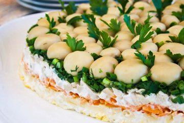 Кулинарный рецепт: Салат «Грибная поляна» с шампиньонами на ГОТОВИМ СМАЧНО